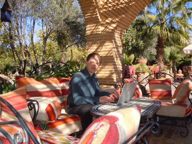 Internet Laptop Lifestyle . At A Business Retreat In Morocco