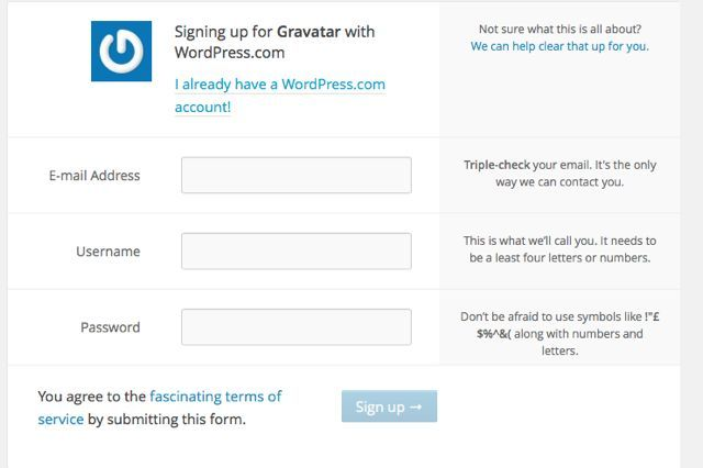 Sign up to wordpress