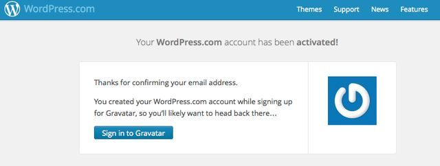 Wordpress activation